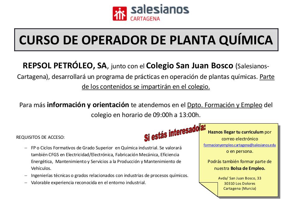 Salesianos Cartagena realizará un Curso de Operador de Planta química en colaboración con Repsol