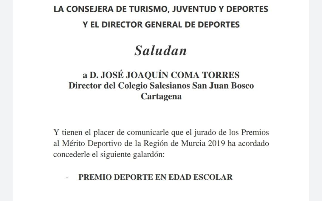 Salesianos Cartagena galardonado dentro de la Gala Premios al Mérito Deportivo de la Región de Murcia 2019